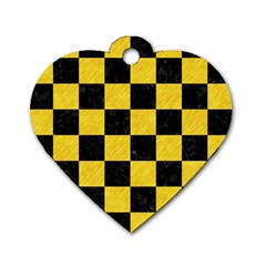 Square1 Black Marble & Yellow Colored Pencil Dog Tag Heart (two Sides)