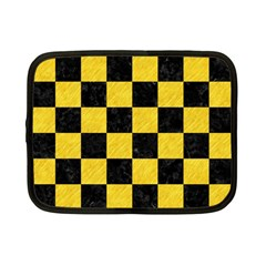 Square1 Black Marble & Yellow Colored Pencil Netbook Case (small)