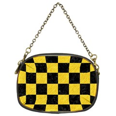 Square1 Black Marble & Yellow Colored Pencil Chain Purses (two Sides)