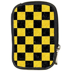 Square1 Black Marble & Yellow Colored Pencil Compact Camera Cases
