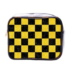 Square1 Black Marble & Yellow Colored Pencil Mini Toiletries Bags