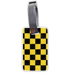 Square1 Black Marble & Yellow Colored Pencil Luggage Tags (two Sides)