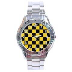 Square1 Black Marble & Yellow Colored Pencil Stainless Steel Analogue Watch