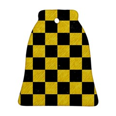 Square1 Black Marble & Yellow Colored Pencil Ornament (bell)