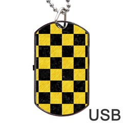 Square1 Black Marble & Yellow Colored Pencil Dog Tag Usb Flash (one Side)