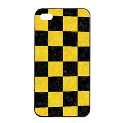 Square1 Black Marble & Yellow Colored Pencil Apple Iphone 4/4s Seamless Case (black)