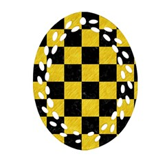 Square1 Black Marble & Yellow Colored Pencil Oval Filigree Ornament (two Sides)