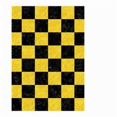 Square1 Black Marble & Yellow Colored Pencil Small Garden Flag (two Sides)