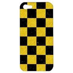 Square1 Black Marble & Yellow Colored Pencil Apple Iphone 5 Hardshell Case