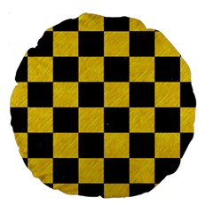 Square1 Black Marble & Yellow Colored Pencil Large 18  Premium Round Cushions