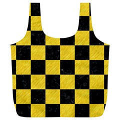 Square1 Black Marble & Yellow Colored Pencil Full Print Recycle Bags (l)