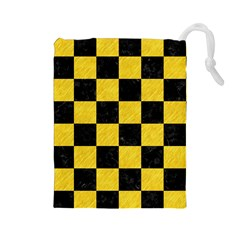 Square1 Black Marble & Yellow Colored Pencil Drawstring Pouches (large)
