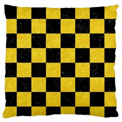 Square1 Black Marble & Yellow Colored Pencil Large Flano Cushion Case (two Sides)