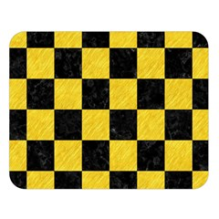 Square1 Black Marble & Yellow Colored Pencil Double Sided Flano Blanket (large)