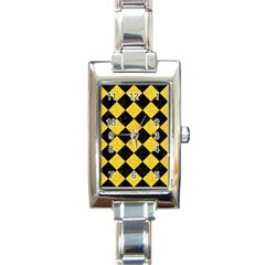 Square2 Black Marble & Yellow Colored Pencil Rectangle Italian Charm Watch