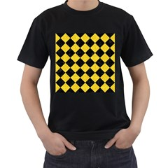 Square2 Black Marble & Yellow Colored Pencil Men s T Shirt (black) (two Sided)