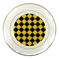 Square2 Black Marble & Yellow Colored Pencil Porcelain Plates