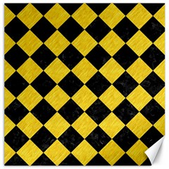 Square2 Black Marble & Yellow Colored Pencil Canvas 12  X 12