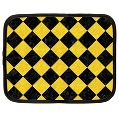 Square2 Black Marble & Yellow Colored Pencil Netbook Case (large)