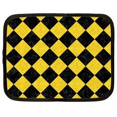 Square2 Black Marble & Yellow Colored Pencil Netbook Case (xl)