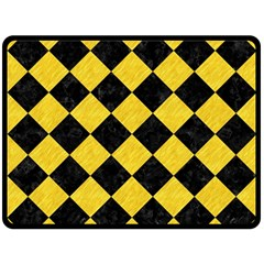 Square2 Black Marble & Yellow Colored Pencil Fleece Blanket (large)