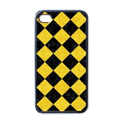 Square2 Black Marble & Yellow Colored Pencil Apple Iphone 4 Case (black)