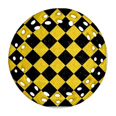 Square2 Black Marble & Yellow Colored Pencil Round Filigree Ornament (two Sides)