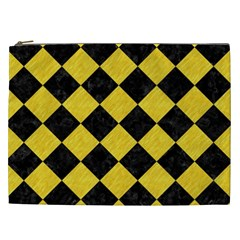 Square2 Black Marble & Yellow Colored Pencil Cosmetic Bag (xxl)