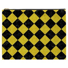 Square2 Black Marble & Yellow Colored Pencil Cosmetic Bag (xxxl)