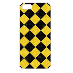 Square2 Black Marble & Yellow Colored Pencil Apple Iphone 5 Seamless Case (white)