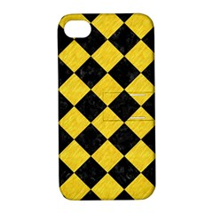 Square2 Black Marble & Yellow Colored Pencil Apple Iphone 4/4s Hardshell Case With Stand