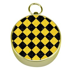 Square2 Black Marble & Yellow Colored Pencil Gold Compasses