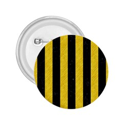 Stripes1 Black Marble & Yellow Colored Pencil 2 25  Buttons