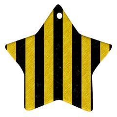 Stripes1 Black Marble & Yellow Colored Pencil Ornament (star)