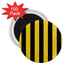 Stripes1 Black Marble & Yellow Colored Pencil 2 25  Magnets (100 Pack)