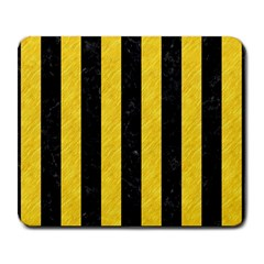 Stripes1 Black Marble & Yellow Colored Pencil Large Mousepads