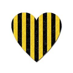Stripes1 Black Marble & Yellow Colored Pencil Heart Magnet