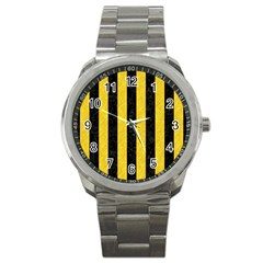 Stripes1 Black Marble & Yellow Colored Pencil Sport Metal Watch