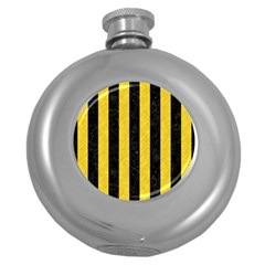 Stripes1 Black Marble & Yellow Colored Pencil Round Hip Flask (5 Oz)
