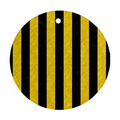 Stripes1 Black Marble & Yellow Colored Pencil Round Ornament (two Sides)