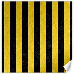 Stripes1 Black Marble & Yellow Colored Pencil Canvas 16  X 16