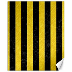 Stripes1 Black Marble & Yellow Colored Pencil Canvas 16  X 20