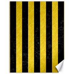 Stripes1 Black Marble & Yellow Colored Pencil Canvas 18  X 24