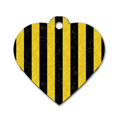 Stripes1 Black Marble & Yellow Colored Pencil Dog Tag Heart (one Side)