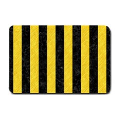Stripes1 Black Marble & Yellow Colored Pencil Small Doormat