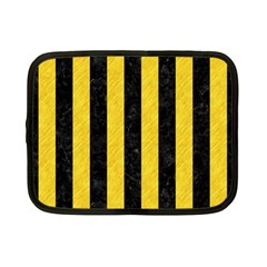 Stripes1 Black Marble & Yellow Colored Pencil Netbook Case (small)