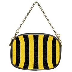 Stripes1 Black Marble & Yellow Colored Pencil Chain Purses (one Side)