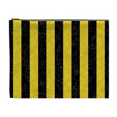 Stripes1 Black Marble & Yellow Colored Pencil Cosmetic Bag (xl)