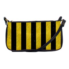 Stripes1 Black Marble & Yellow Colored Pencil Shoulder Clutch Bags