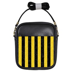 Stripes1 Black Marble & Yellow Colored Pencil Girls Sling Bags